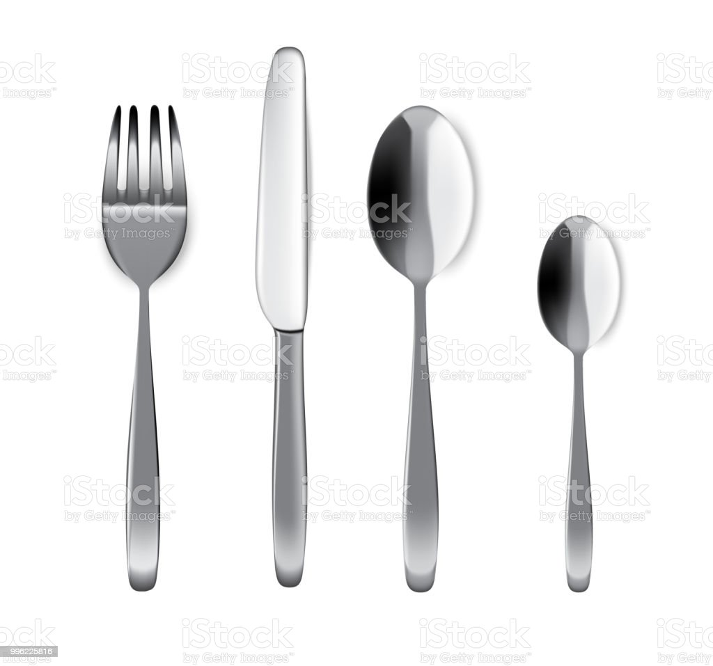 Mock Up Realistic Metal Spoon Fork And Knife On Dining Table For