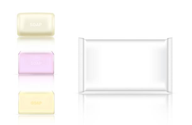 3d 類比現實肥皂酒吧化妝品包裝紙包裝或塑膠包的廣告設計背景插圖 - bar 幅插畫檔、美工圖案、卡通及圖標