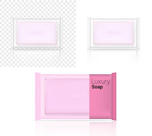 3d 類比逼真的肥皂吧化妝品透明香包包裝紙包裝紙包裝或塑膠包的廣告設計背景插圖 - bar 幅插畫檔、美工圖案、卡通及圖標