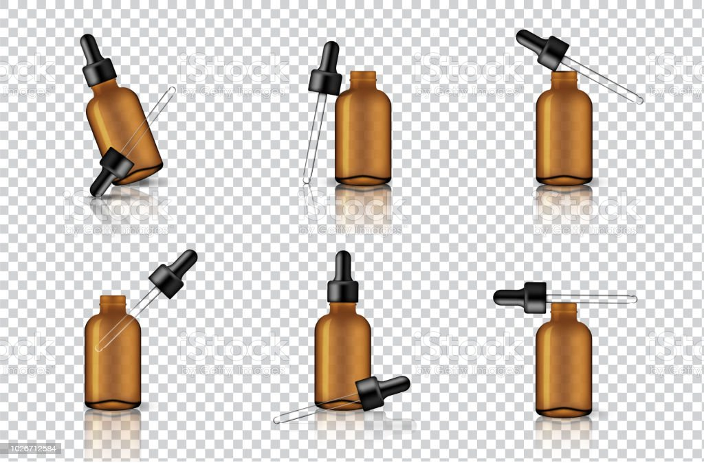 Mock Up Realistic Transparent Amber Dropper Or Pipette ...