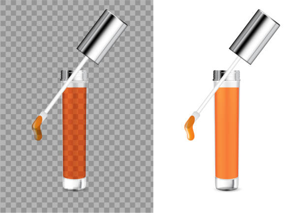 mock up realistic transparent bottle cosmetic lip gloss balm or oil for skincare product packaging with metallic cap background illustration - błyszczyk stock illustrations
