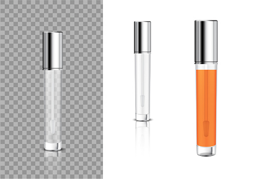 Mock up Realistic Transparent Bottle Cosmetic Lip Gloss Balm,Concealer, Oil for Skincare Product Packaging With Metallic Cap Background Illustration