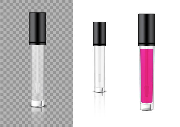 mock up realistic transparent bottle cosmetic lip gloss balm,concealer, oil for skincare product packaging with black cap background illustration - błyszczyk stock illustrations