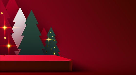 Mock up scene. Podium shape for show cosmetic product display. stage pedestal or platform. Winter Christmas red background with tree xmas.