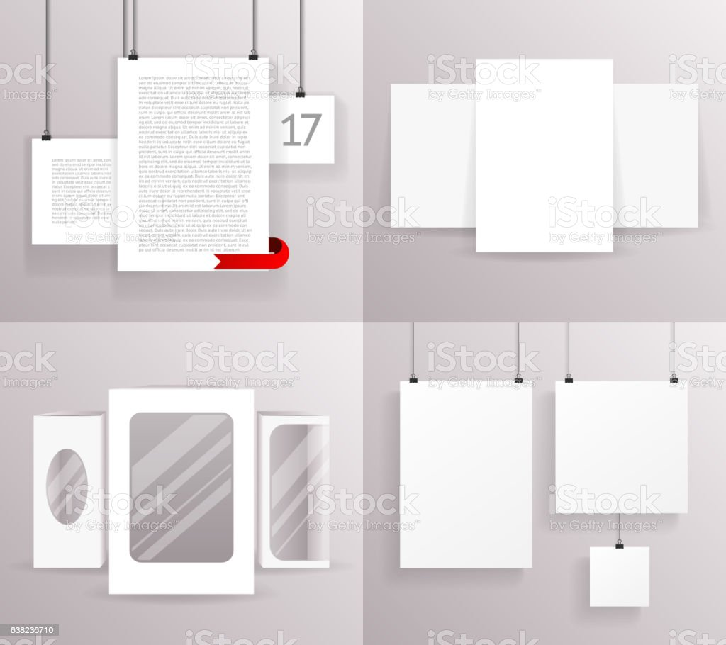 Mock Up Set Frames Boxes Paper Big Little Realistic Text vector art illustration