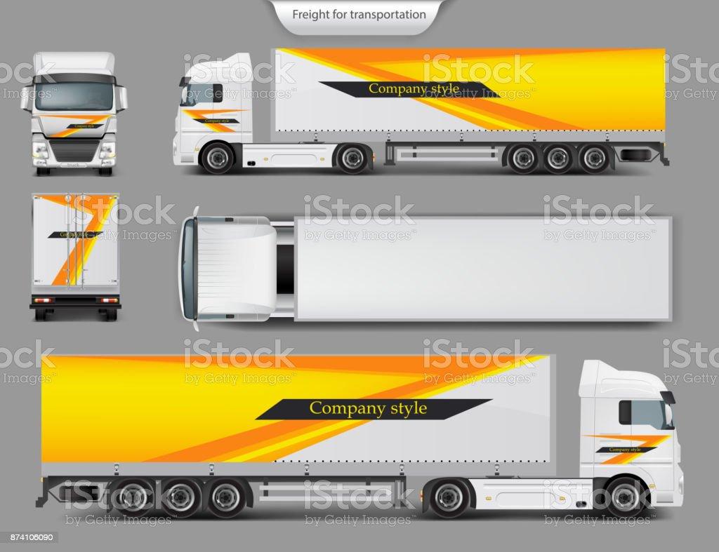 Mock up, template brand design for truck vector art illustration
