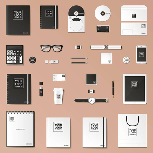 mock up vector set. - composition notebook cover stock illustrations, clip art, cartoons, & icons