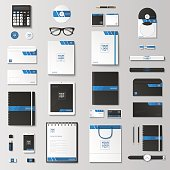 Corporate identity template set. Business stationery mock-up with poster. Branding design. Notebook, card, catalog, pen, pencil, badge,  tablet pc, mobile phone, letterhead.