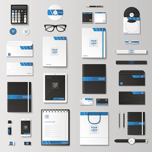 mock up vector set. - stationery templates stock illustrations