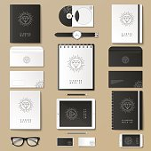 Corporate identity template set. Business stationery mock-up with posters. Branding design. Notebook, card, catalog, pen, pencil, badge, tablet pc mobile phone letterhead.