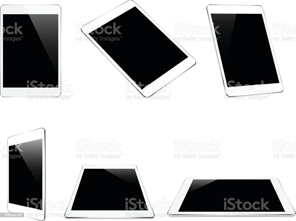 mock up white tablet isolated on white vector design vector art illustration