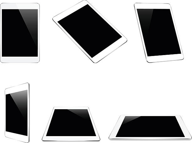 mock up white tablet isolated on white vector design - angle stock illustrations