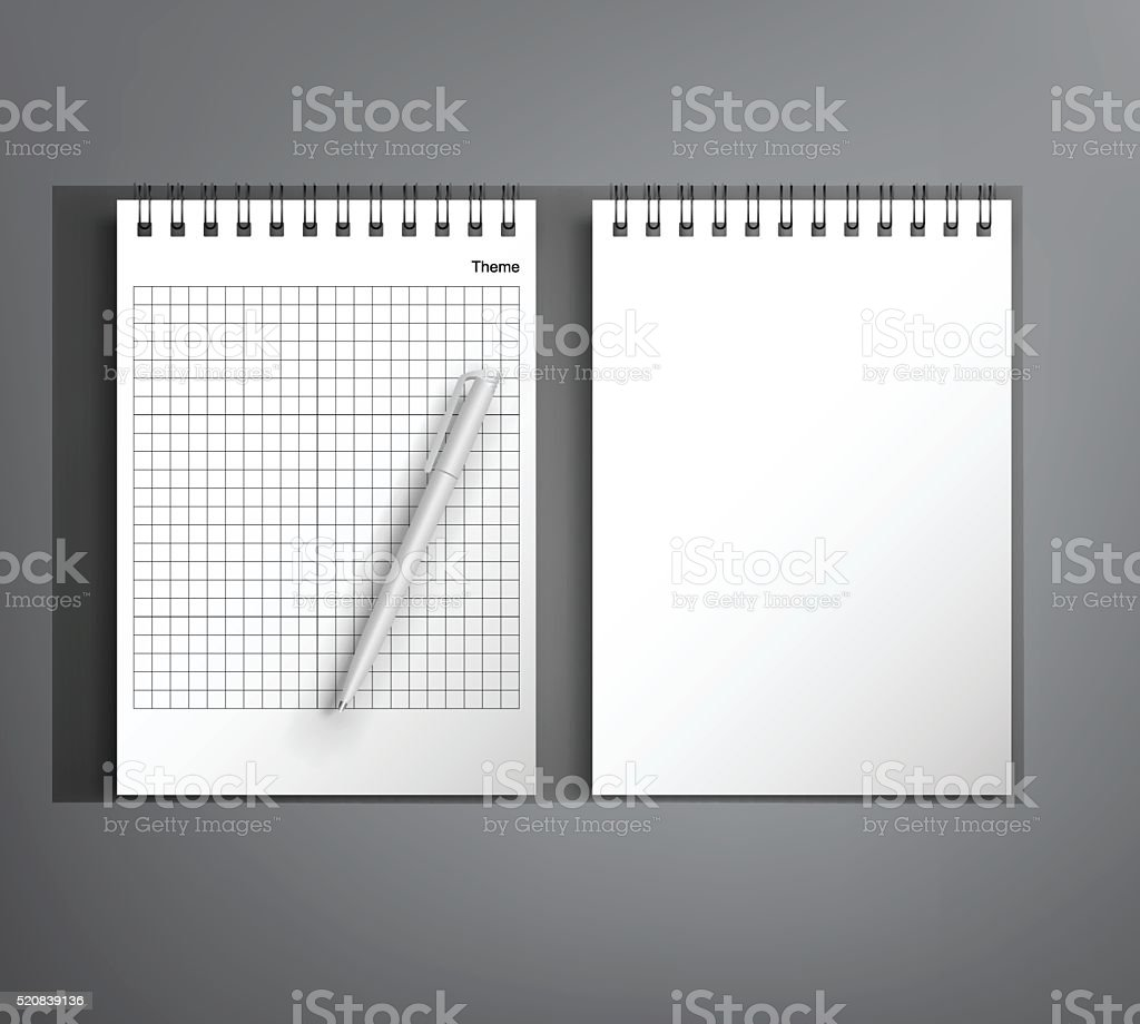 Mock Up with a notebook and pen vector art illustration