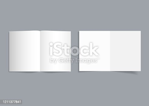 Mockup bifold brochure. White cover of flyer with shadow. Paper template booklet or leaflet for realistic magazine, pamphlet, card, flyer. Open page catalog format of a4, a3, a5. Empty blank. Vector.