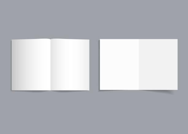 ilustrações, clipart, desenhos animados e ícones de panfleto bifold mockup. capa branca de panfleto com sombra. folheto de modelo de papel ou folheto para revista realista, panfleto, cartão, folheto. formato de catálogo de página aberta de a4, a3, a5. vazio em branco. vetor - aberto
