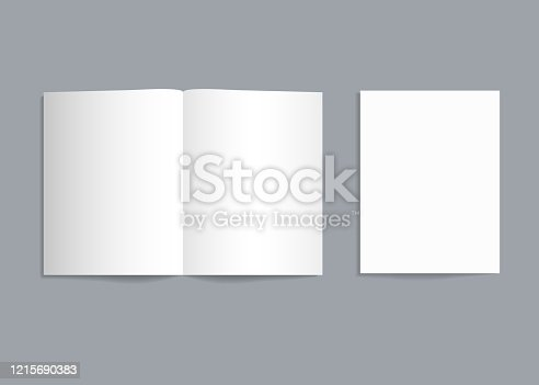 istock Mockup bifold brochure. White paper flyer with shadow isolated. Blank card menu. Magazine cover with mock-up bi-fold catalog. a4, a3, a5 leaflet for presentation, catalog, invitation, booklet. Vector 1215690383