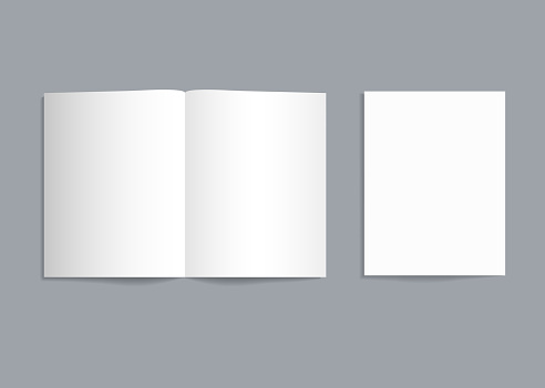 Mockup bifold brochure. White paper flyer with shadow isolated. Blank card menu. Magazine cover with mock-up bi-fold catalog. a4, a3, a5 leaflet for presentation, catalog, invitation, booklet. Vector