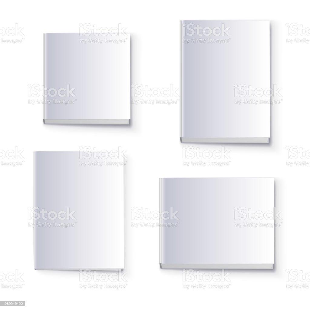 Mockupbüchervorlage Satz Von Vier Cover Des Buches Stock Vektor Art ...