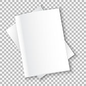 The layout of the two white soft-cover books, one on top of the other, lie on the table. Soft shadows. Ready to insert text or image. Isolated on a transparent background. Vector illustration.