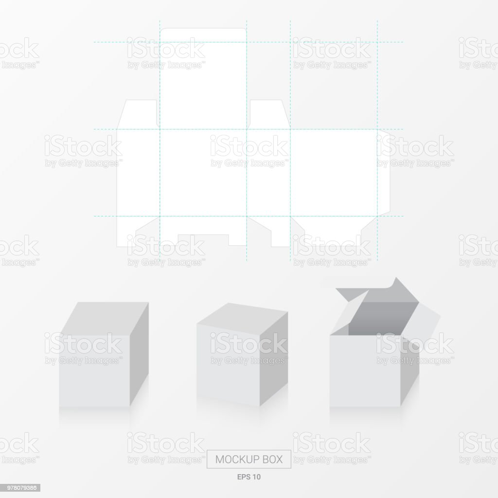 mockup box with die cut template vector blank square box template