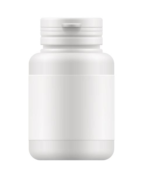 mock-up container for medication White blank template of plastic jar with cap for pills. 3d mock-up medical package for medication: tablets, vitamin or drugs. Medicine container for medicament. Vector pharmaceutical illustration aspirin stock illustrations