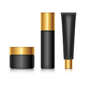 Set of container template for cosmetics. Black design with gold lids. Realistic vector mockup isolated on white background.