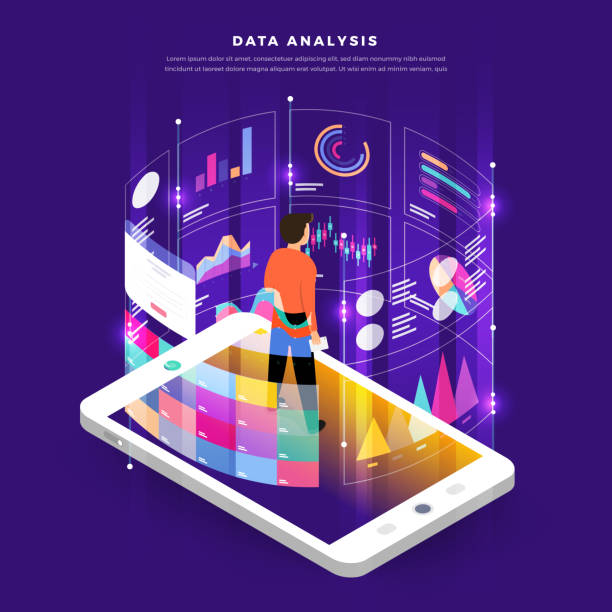 Mock-up design website flat design concept digital marketing data analysis with graph chart. Vector illustration. Mock-up design website flat design concept digital marketing data analysis with graph chart. Vector illustration. digital marketing stock illustrations