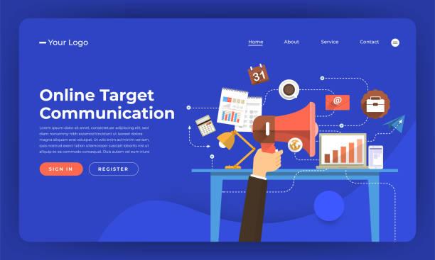 mock-up design website flat design concept digital marketing. online target communication. vector illustration. - digital marketing stock illustrations