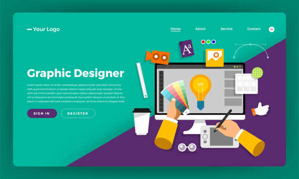 illustrazioni stock, clip art, cartoni animati e icone di tendenza di mock-up design website flat design concept graphic designer.  vector illustration. - designer professionista