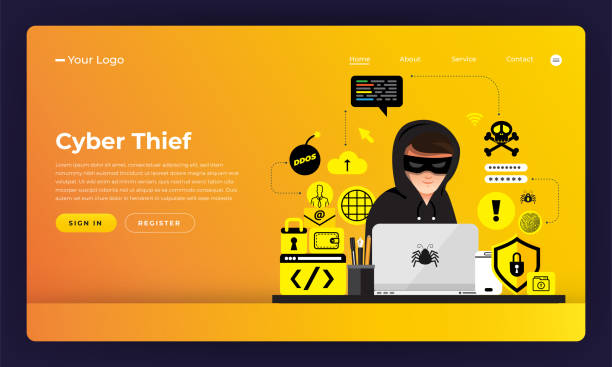 mock-up design website flat design concept hacker activity cybercrime and cyber thief.  vector illustration. - identity theft stock illustrations, clip art, cartoons, & icons