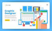 Mock-up design website flat design concept the designer like graphic website application and design tools. Vector illustration.