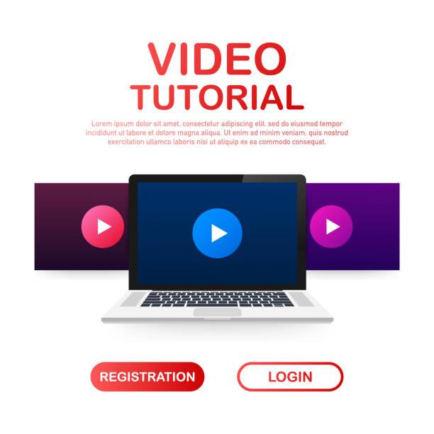 ilustrações de stock, clip art, desenhos animados e ícones de mock-up design website flat design concept video tutorial. vector illustration - training