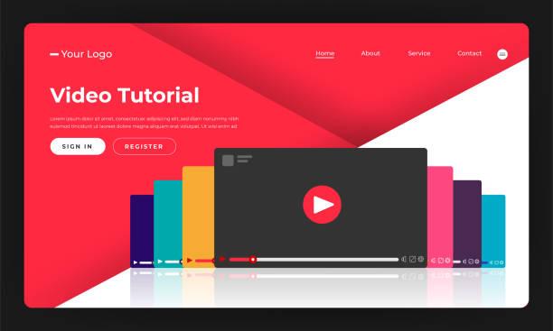 stockillustraties, clipart, cartoons en iconen met mock-up ontwerp website plat ontwerp concept video tutorial.  vectorillustratie. - youtube