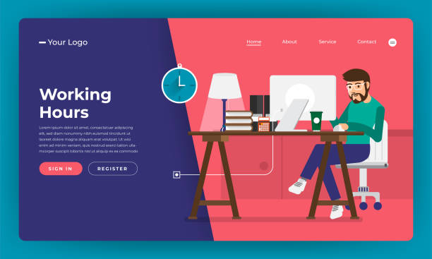 mock-up design website flat design concept working hours worker in office place.  vector illustration. - call center stock illustrations