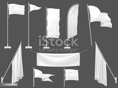 Mockup flag. White flags, blank canvas banner and fabric flag on flagpole. Advertisement realistic flag banners and poster. 3d template vector illustration isolated icons set