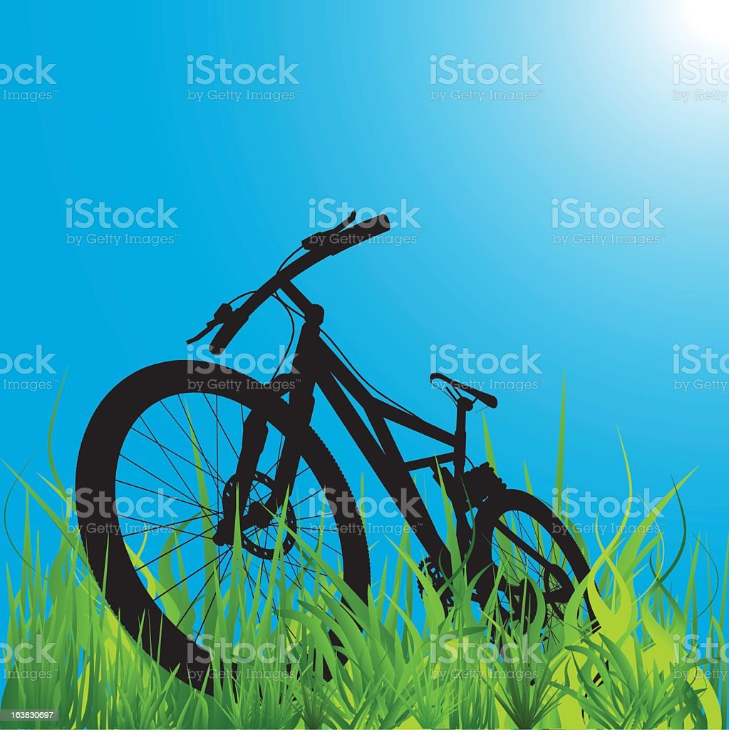 Mockup illustration of mountain bike against the blue sky royalty-free mockup illustration of mountain bike against the blue sky stock vector art & more images of bicycle