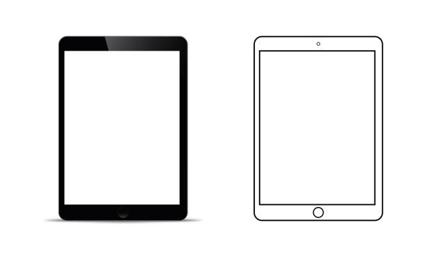 ilustrações de stock, clip art, desenhos animados e ícones de mockup in front of a black tablet that looks realistic with a transparent blank screen. - tablet