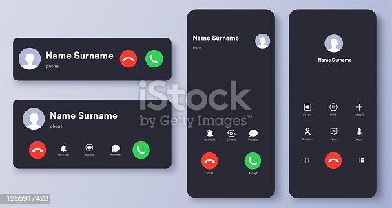 istock Mockup incoming call, voicemail screen, smartphone interface vector template. Flat UI, UX for application. New Call screen template. Web app display template. Vector illustration 1255917423