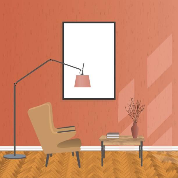 illustrations, cliparts, dessins animés et icônes de maquette salon intérieur en style hipster avec bloc vide, fauteuil et table. loft design de logement. - architecture intérieure beton