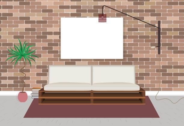 illustrations, cliparts, dessins animés et icônes de maquette salon intérieur en style hipster avec mur vide de trame, canapé, lampe et la brique. - architecture intérieure beton