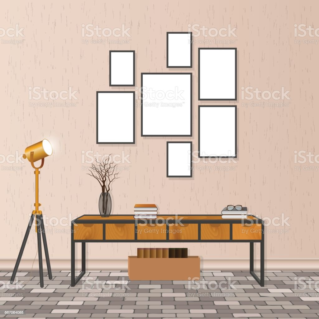Mockup Living Room Interior In Hipster Style With Empty Frames Brick Flooring And Concrete Wall