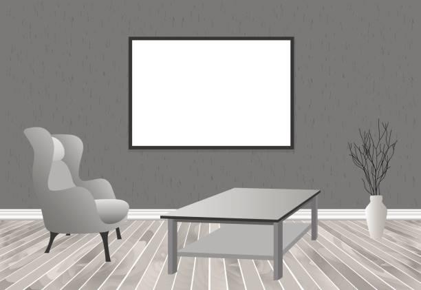 illustrations, cliparts, dessins animés et icônes de maquette salon intérieur en style hipster avec cadre, table, fauteuil et mur en béton. loft design de logement. - architecture intérieure beton