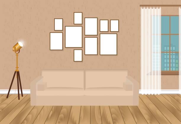 illustrations, cliparts, dessins animés et icônes de maquette salon intérieur en style hipster avec cadres, canapé, lampe, mur en béton et parquet au sol. loft design. - architecture intérieure beton