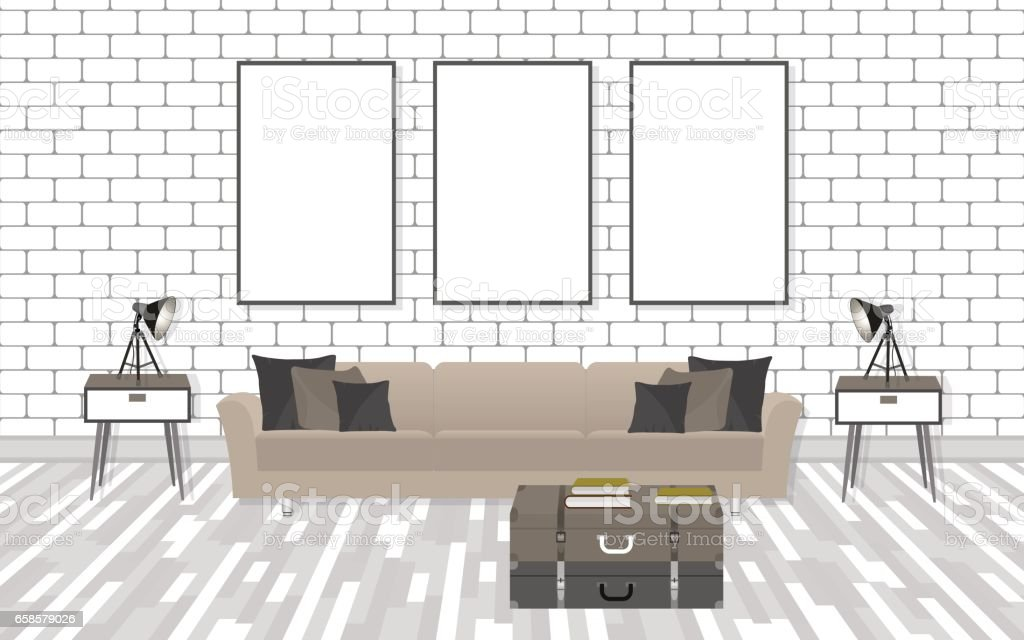 Mockup Living Room Interior In Hipster Style With Frames, Sofa, Lamps And  White Brick