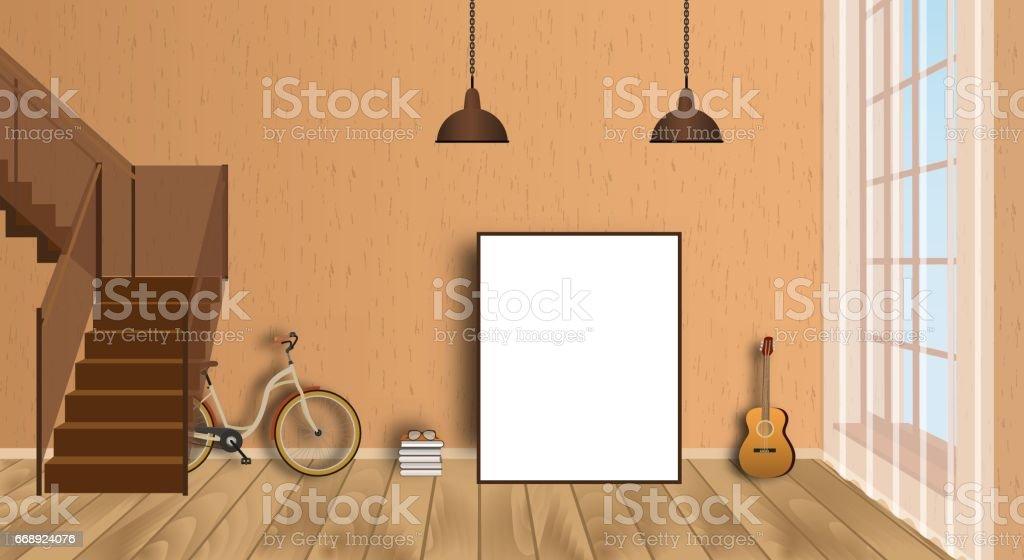 Mockup woonkamer interieur met lege frame fiets gitaar houten
