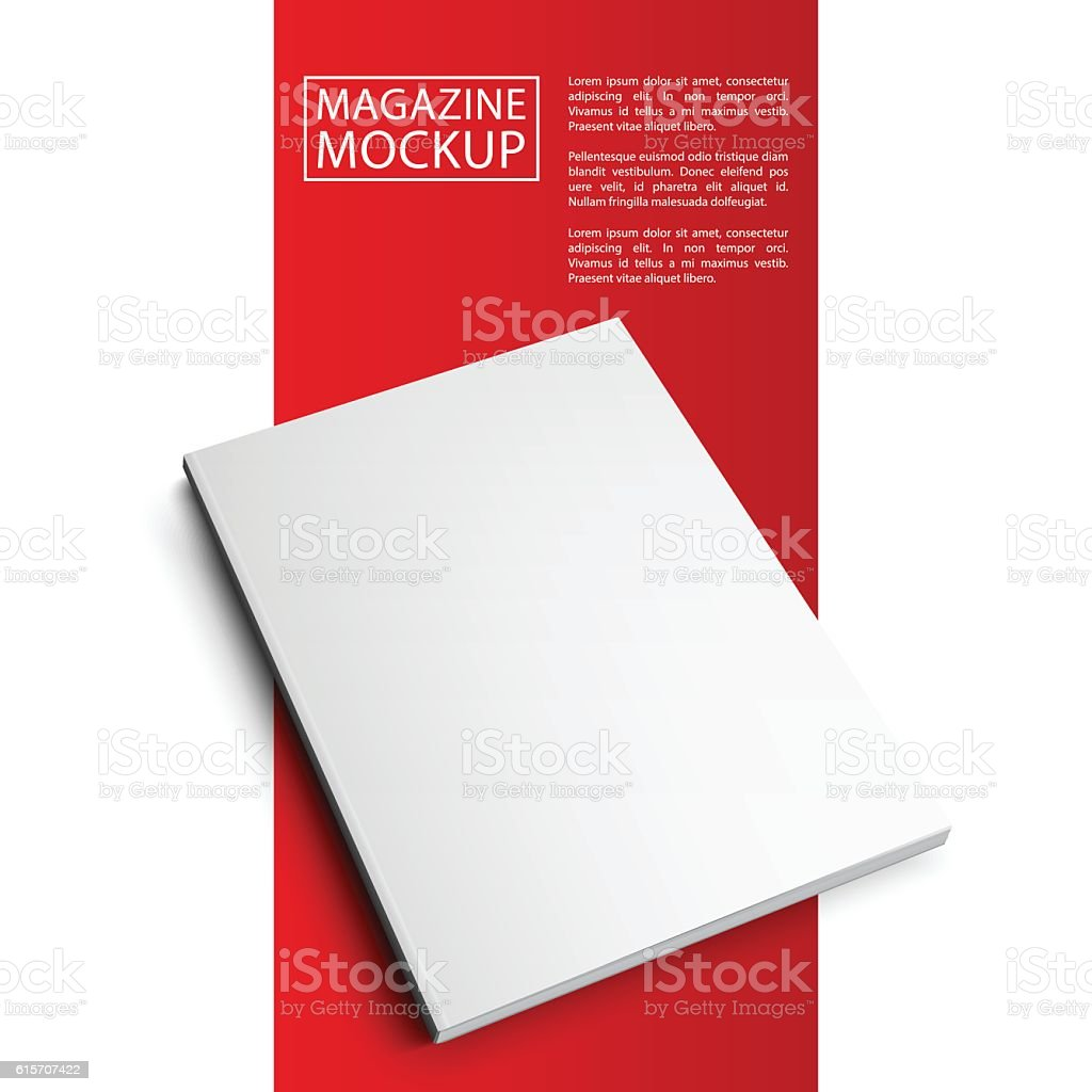 mockup magazine red line7-01 vector art illustration