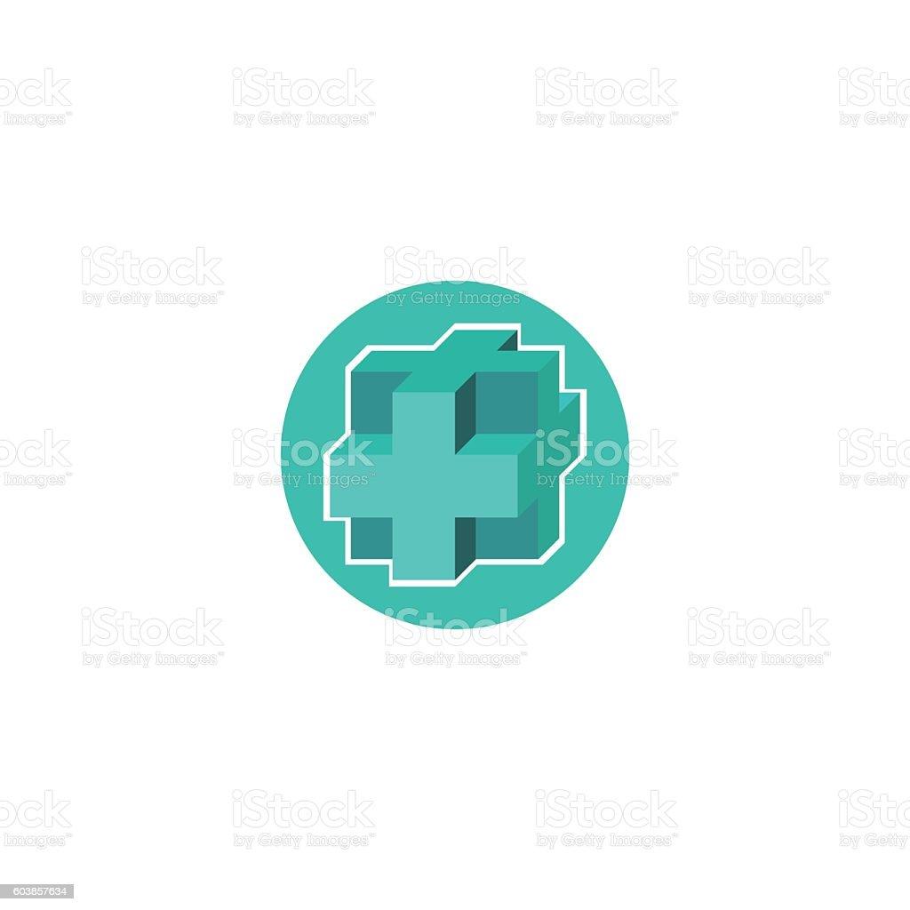 Mockup medical logo, 3d blue cross icon, hospital template emblemvectorkunst illustratie
