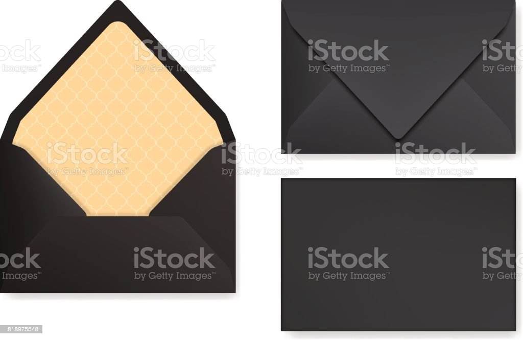 Mock-up of black designed envelope. Front view, closed and opened back side. vector art illustration