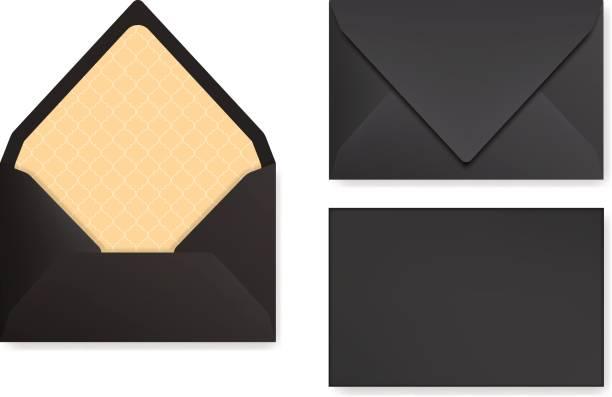Mock-up schwarz gestalteten Umschlag. Vorderansicht, geschlossenen und geöffneten Rückseite. – Vektorgrafik