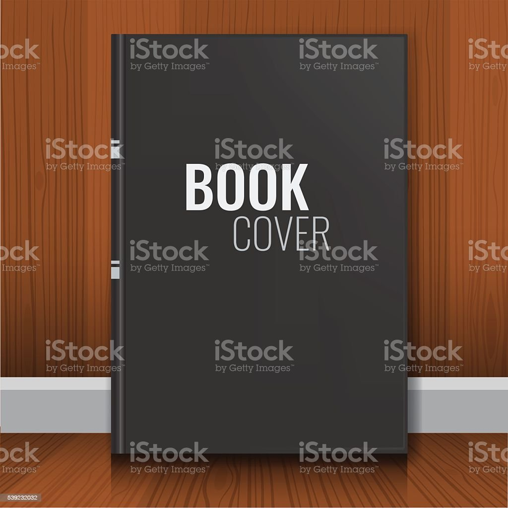 Mockup of black realistic book cover with wood background. royalty-free mockup of black realistic book cover with wood background stock vector art & more images of arranging